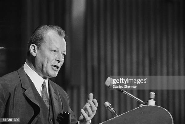 German statesman and politician Willy Brandt speaking at the Socialist International congress in Eastbourne Sussex 16th June 1969