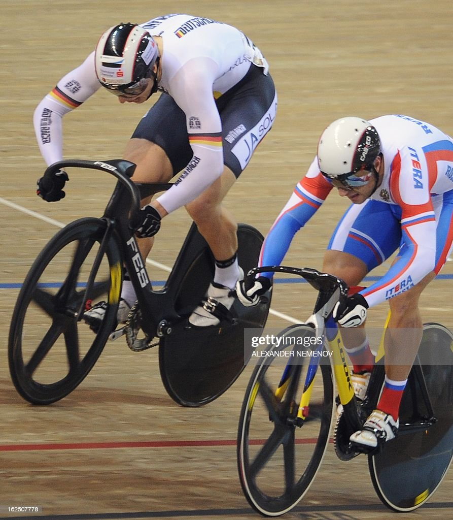 German Stefan Botticher (L) competes for the gold ahead of Russian Denis Dmitriev, silver, during the Men's Sprint event of the UCI Track Cycling World Championships in Minsk on February 24, 2013.
