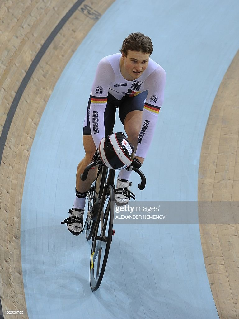 German Stefan Botticher reacts after winning the men's Sprint event of the UCI Track Cycling World Championships in Minsk on February 24, 2013.