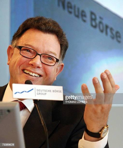 German stock exchange operator Deutsche Boerse chief Reto Francioni addresses a press conference 22 February 2007 in Frankfurt/Main where he said...
