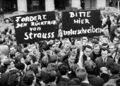 German students at Munich University at a protest demanding the resignation of the German Minister of Defence Franz Josef Strauss following the 'Der...