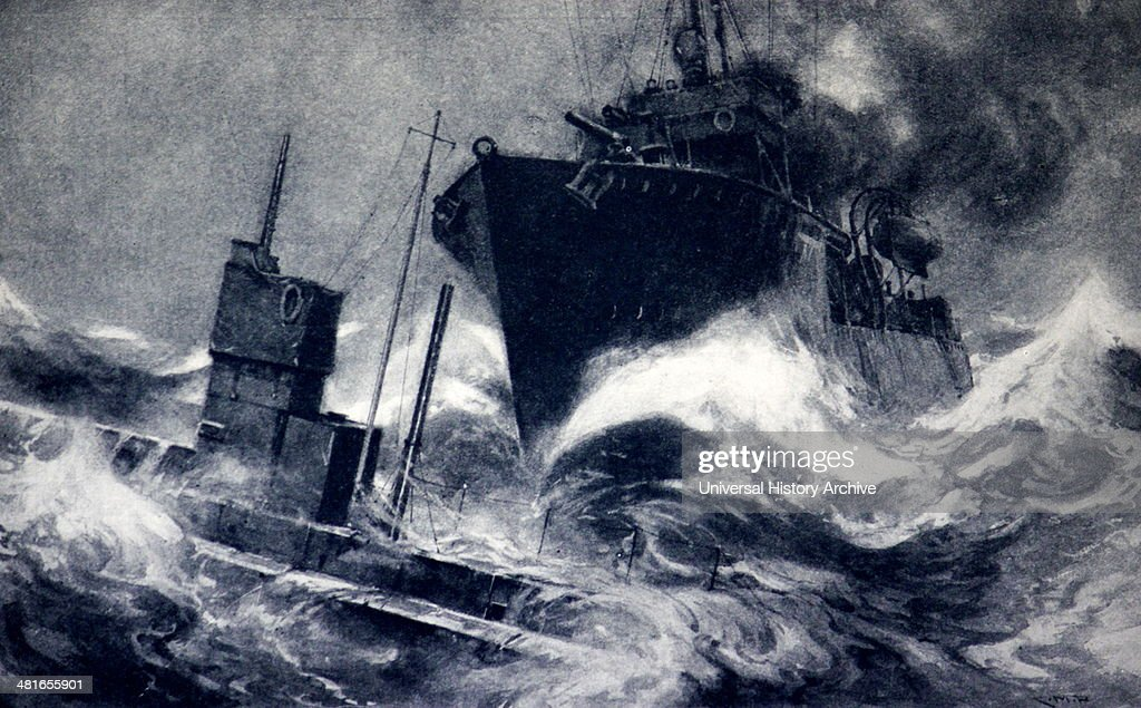German submarine rammed by the British Destroyer Badger off the Belgian coast On October 24th 1914 when the great Battle of the Coast was raging...