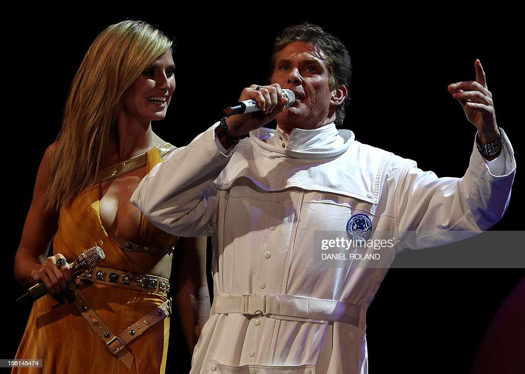 German supermodel and show host Heidi Klum (L) and US actor David Hasselhoff speak on stage during the 2012 MTV European Music Awards (EMA) at the Festhalle in Frankfurt am Main, central Germany on November 11, 2012.
