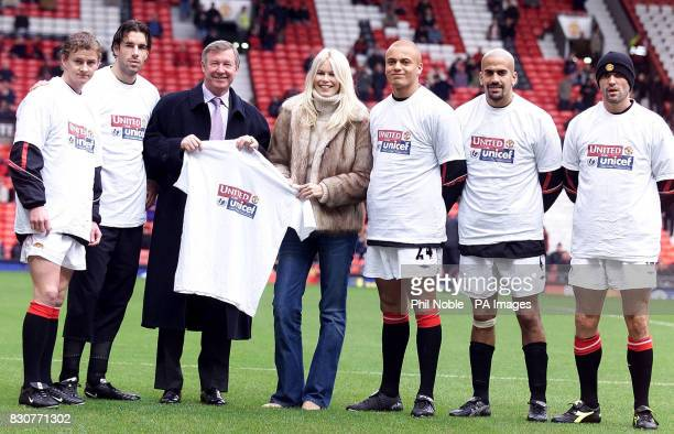 German supermodel Claudia Schiffer joins forces with Manchester United manager Sir Alex Ferguson and United players Ole Gunnar Solskjaer Ruud van...