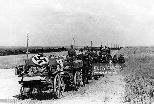 A German supply convoy advancing in lower Ukraine Ukraine July 1941