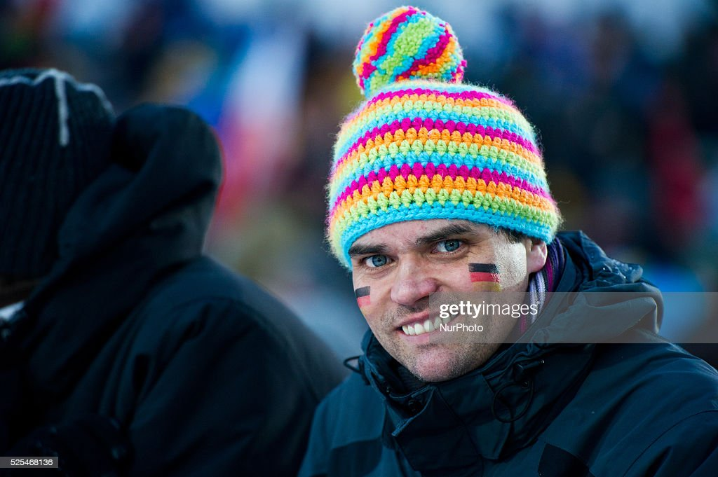 German supporter at the Large Hill Individual competition on day two of the FIS Ski Jumping World Cup on February 8 2015 in Titisee Germany