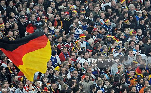 German supporters cheer on their team during the IIHF Ice Hockey World Championship Gruppe D opening match USA vs Germany at the Arena in the western...