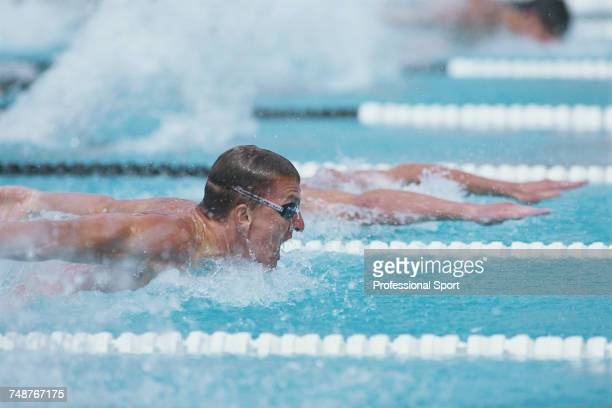 German swimmer Michael Gross competes for the Germany team in the Men's butterfly swimming events at the 1991 World Aquatic Championships in the...