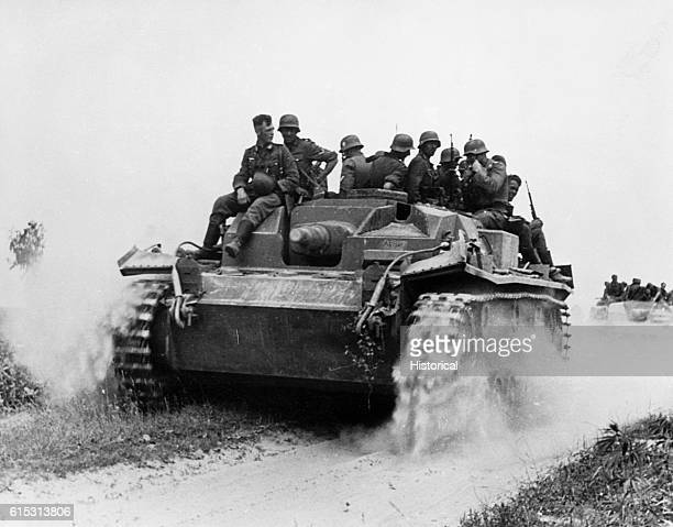 A German tank breaks through the Stalin Line during the German invasion of the Soviet Union in World War II