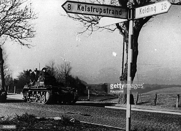 German tank on the road as the German army invades Denmark in April 1940