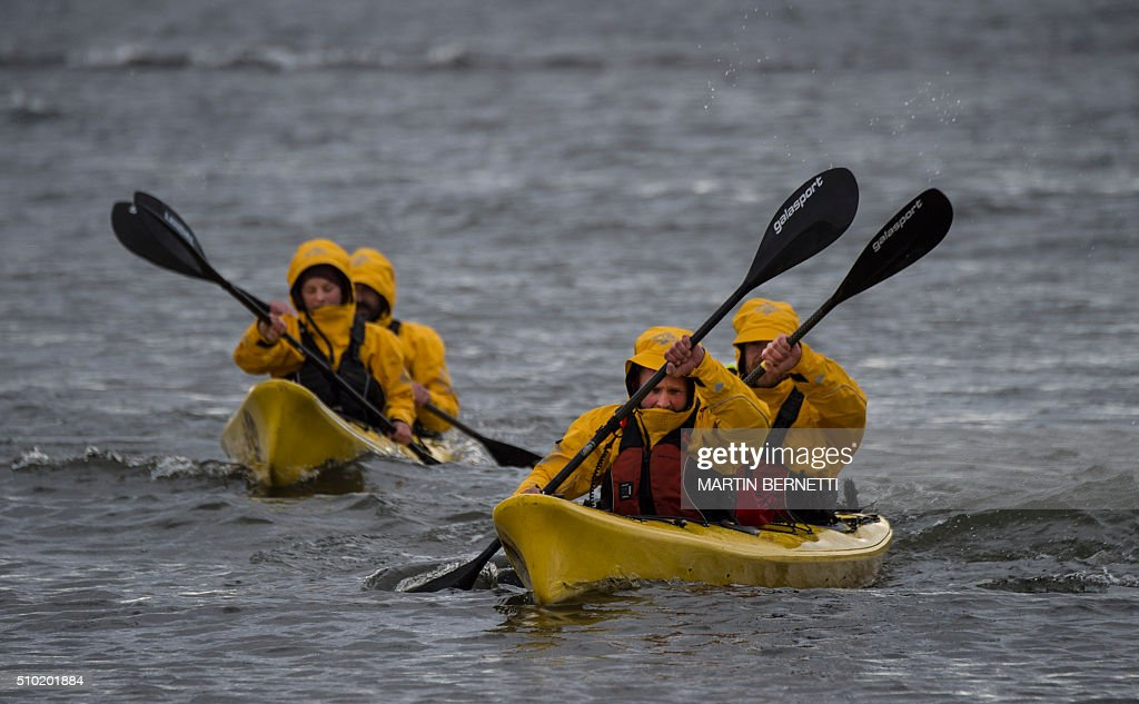 German team Campz Adventure kayaking in a practice before the Patagonian Expedition Race, in the southern Chilean Patagonian region near Punta Arenas, on February 14, 2016. Eighteen four-member teams from 12 different countries combine trekking, kayaking and mountain biking, covering hundreds of kilometers in this wilderness region, with a simple map and a compass. AFP PHOTO/MARTIN BERNETTI / AFP / MARTIN BERNETTI