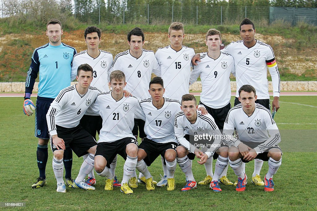 German team group taken during the Under17 Algarve Youth Cup match between U17 Portugal and U17 Germany at the Stadium Bela Vista on February 12, 2013 in Parchal, Portugal.
