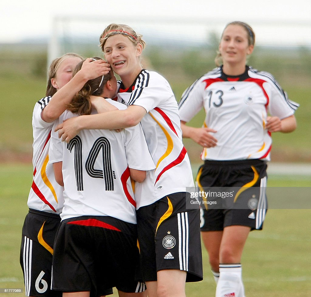 German team members celebrate one of their 7 goals during the U16 Nordic Cup match between Norway and Germany at the Hvolsvollur stadium on June 30, 2008 in Hvolsvoellur, Iceland.