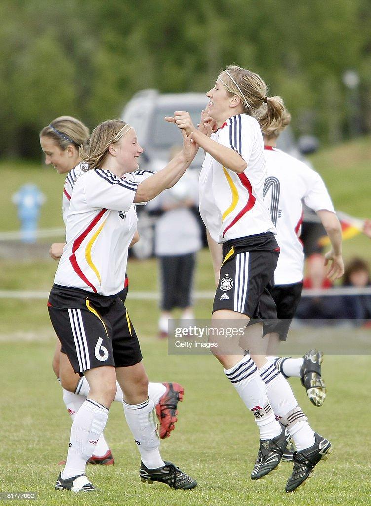 German team members celebrate their victory over Norway during the U16 Nordic Cup match between Norway and Germany at the Hvolsvollur stadium on June 30, 2008 in Hvolsvoellur, Iceland.