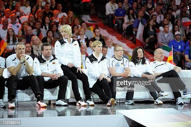German team members Hannes Jaenicke Lothar Matthaeus Ulla Kock am Brink Karen Heinrichs Fabian Hammbuechen Christine Neubauer and Uwe Ochsenknecht...