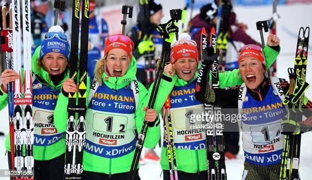German team Vanessa Hinz Maren Hammerschmidt Franziska Hildebrand and Laura Dahlmeier celebrate victory in the finish area of the 2017 IBU World...