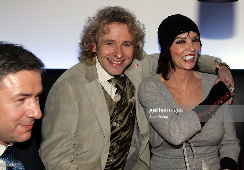 German television host Thomas Gottschalk (L) and his wife Thea attend the afterparty at the 'Ein Herz Fuer Kinder' Gala at The Axel Springer building on December 18, 2004 in Berlin, Germany.