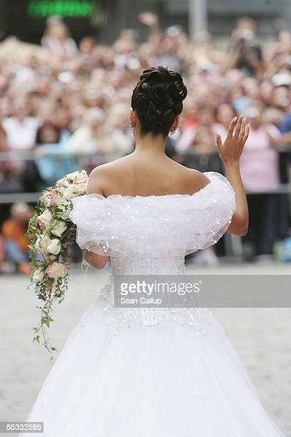 German television personality Verona Pooth arrives at the Stephansdom Cathedral for her church wedding to Franjo Pooth September 10 2005 in Vienna...