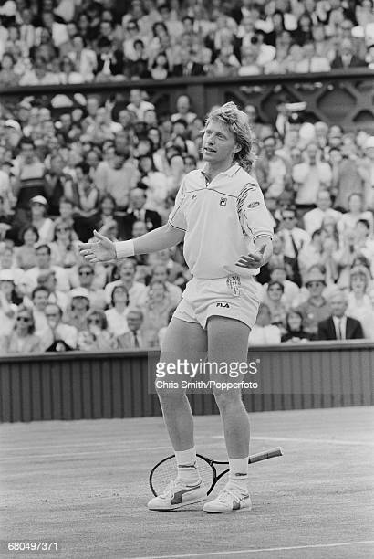 German tennis player Boris Becker pictured dropping his racket to appeal to the umpire during action to beat Czech tennis player Ivan Lendl 64 63 67...