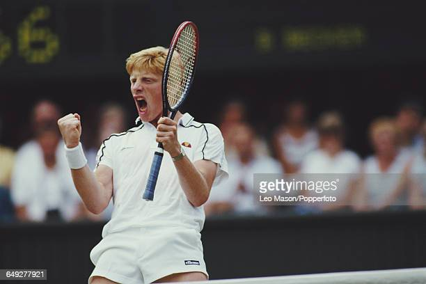 German tennis player Boris Becker pictured in action competing against Ivan Lendl in the final of the Men's Singles tournament at the Wimbledon Lawn...