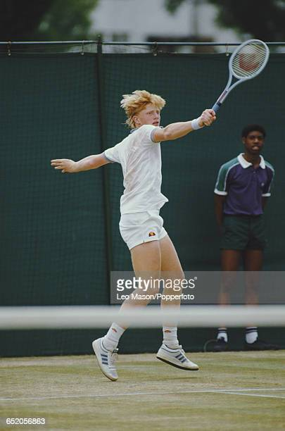 German tennis player Boris Becker pictured in action competing against Blaine Willenborg of the United States in the first round of the Men's Singles...