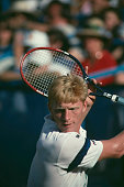 German tennis player Boris Becker pictured in action competing to progress to win the final of the 1989 US Open Men's Singles tennis tournament at...