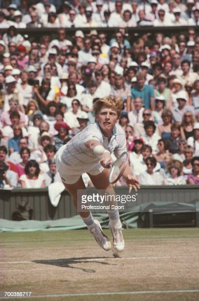 German tennis player Boris Becker pictured in action competing to progress to win the final of the Men's Singles tournament at the Wimbledon Lawn...
