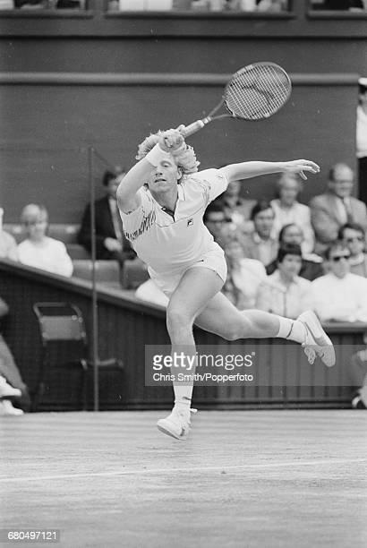 German tennis player Boris Becker pictured in action to beat Czech tennis player Ivan Lendl 64 63 67 64 in the semi finals of the Men's Singles...