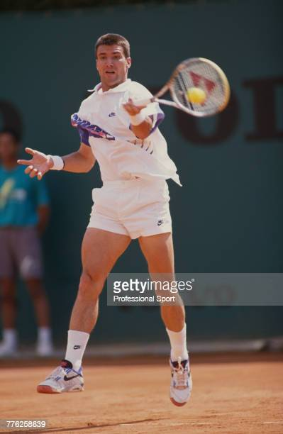 German tennis player CarlUwe Steeb pictured in action during competition to reach the quarterfinals of the Men's Singles tournament at the 1991 Monte...