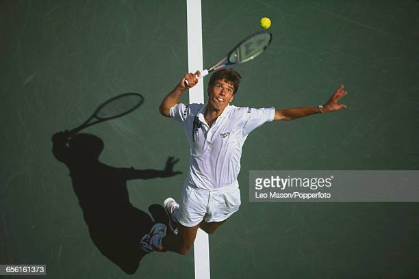 German tennis player Michael Stich pictured in action during progress to reach the final of the 1994 US Open Men's Singles tennis tournament before...