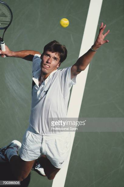 German tennis player Michael Stich pictured in action during competition to reach the final of the 1994 US Open Men's Singles tennis tournament at...