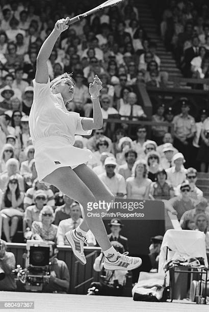 German tennis player Steffi Graf pictured in action against Argentine tennis player Gabriela Sabatini in the final of the Women's Singles tournament...