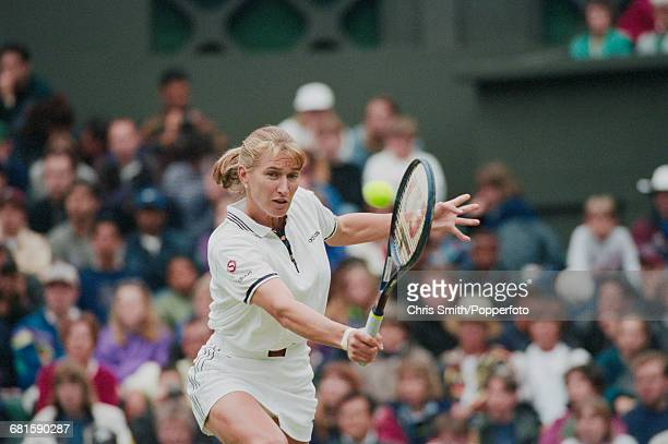 German tennis player Steffi Graf pictured in action during progress to reach and win the final of the Women's Singles tournament at the Wimbledon...