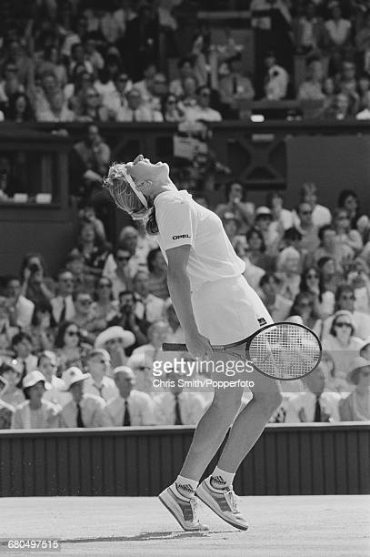 German tennis player Steffi Graf pictured shouting in frustration at match point during action against Argentine tennis player Gabriela Sabatini in...