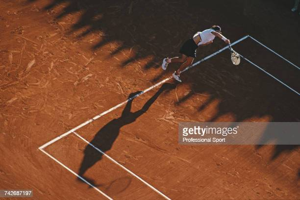 German tennis player Tommy Haas pictured in action during progress to reach the third round of the Men's Singles tennis tournament at the 2000 French...