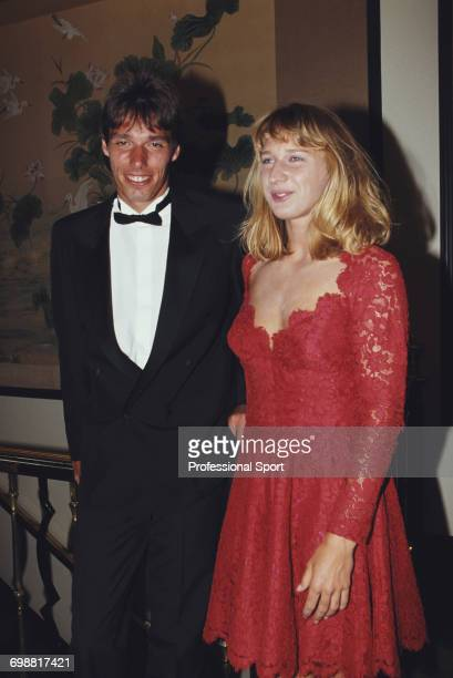 German tennis players Michael Stich and Steffi Graf champions of the 1991 Wimbledon Championships pictured together wearing formal evening wear at...