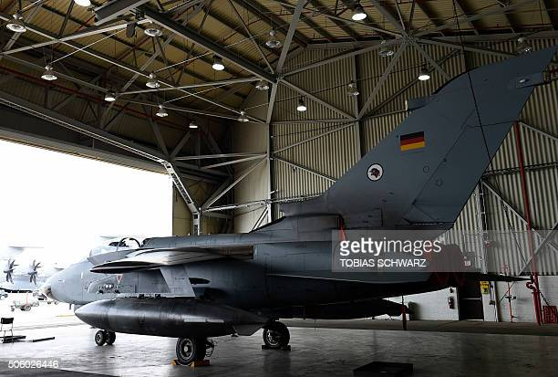 A German Tornado jet is pictured in a hangar before a statement of the German and Turkish defence ministers at the air base in Incirlik Turkey on...
