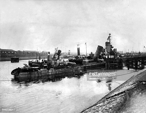 German torpedo boat V 69 badly damaged in a naval battle off the Dutch coast on the night of Jan 23/24 escaped to the port of Ijmuiden in the neutral...