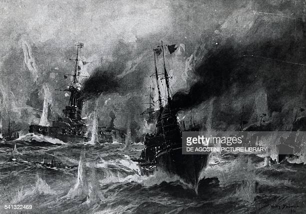 German torpedo boats attacking the English fleet May 31 Battle of Jutland illustration from Leipzig Illustrated Magazine Leipzig First World War...