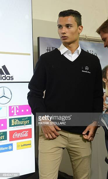 German Touring car driver Pascal Wehrlein attends a press conference of the German national football team in San Martino in Passiria on May 27 2014...