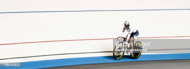 German track cycling athlete Kristina Vogel rides a bike during a portrait session on July 9 2012 in Erfurt Germany