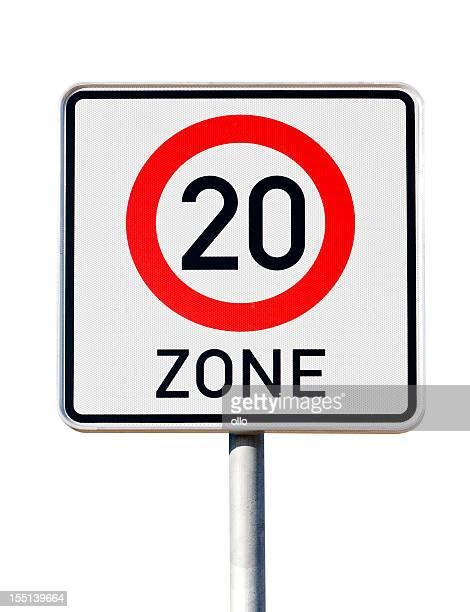 Alemão Sinal de trânsito-limite de velocidade de 20 quilómetros por hora