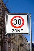 German traffic sign - speed limit 30 kilometers per hour
