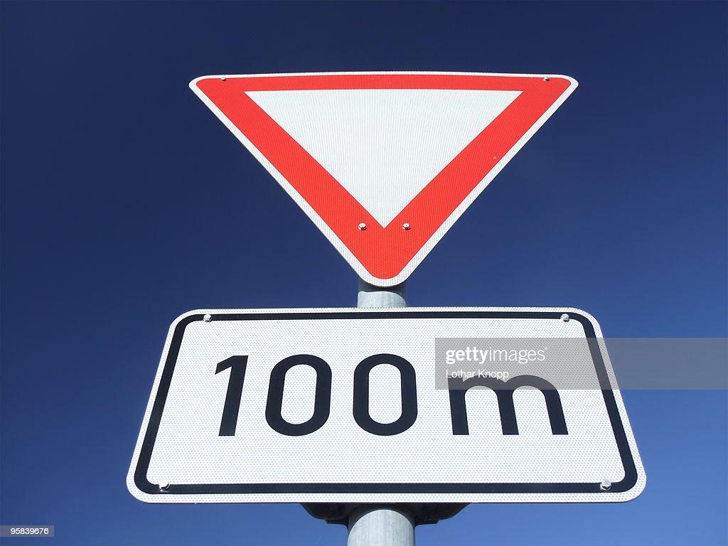 German Traffic sign Yield - Vorfahrt beachten