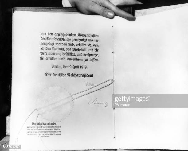 German translation of the 1920 peace treaty signed by Herr Ebert and Herr Bauer