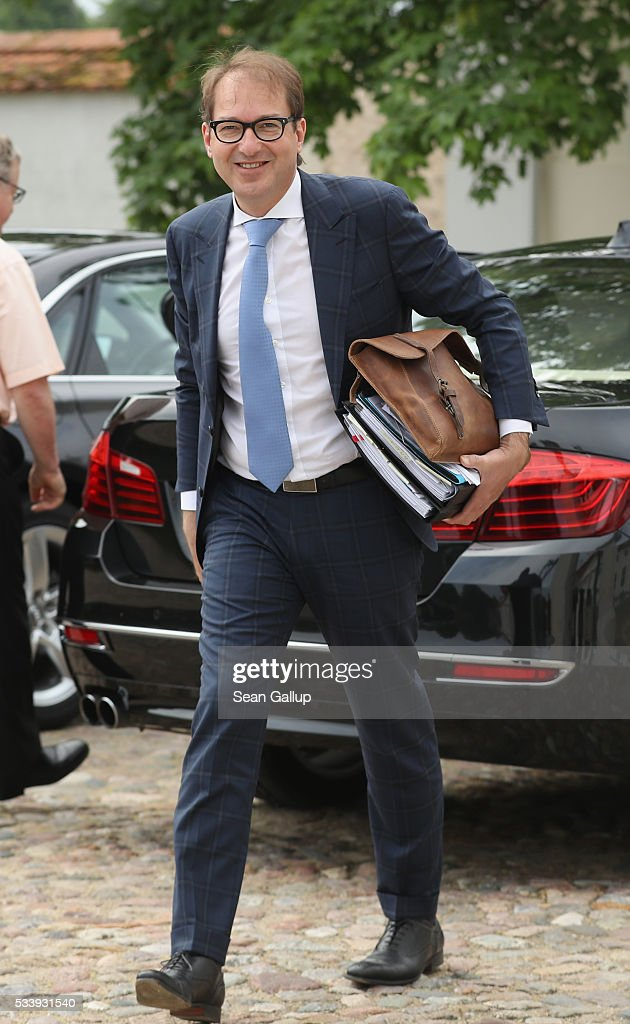 German Transport and Digital Technologies Minister Alexander Dobrindt arrives for a meeting of the government cabinet at Schloss Meseberg palace on May 24, 2016 near Gransee, Germany. The government cabinet is meeting at Schloss Meseberg for a two-day retreat.