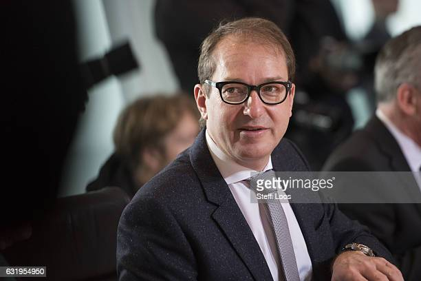 German Transport and Digital Technologies Minister Alexander Dobrindt attend the weekly government Cabinet meeting on January 18 2017 in Berlin...