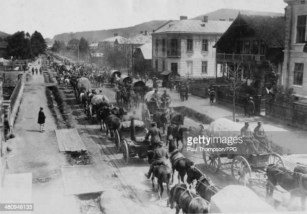 German transport columns passing through Skole in Galicia during World War I circa 1915 Photo by Gebruder Haeckel