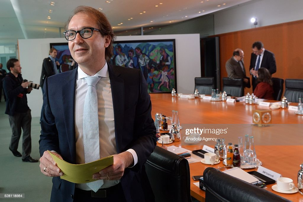 German Transport Minister Alexander Dobrindt attends the weekly cabinet meeting at the Chancellery in Berlin, Germany on May 04, 2016.