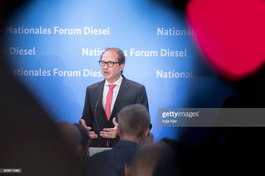 German Transport Minister Alexander Dobrindt speaks at a press conference in the course of the Diesel Summit on August 02, 2017 in Berlin, Germany. Representatives of the automobile industry and federal politics meet to find solutions in reducing the pollutant emissions of diesel vehicles.